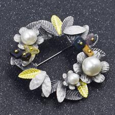 1x Blume Blatt Perlen Anstecknadel Brosche Geschenk Kleidung Deko Elegant Chic