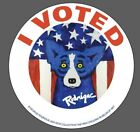 """2 Limited edition Louisiana """"I Voted"""" stickers (2016) George Rodrigue Blue Dog"""