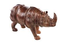 Rhinoceros vintage Leather sculpture