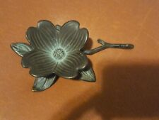 """Brass Dogwood Flower Ashtray, Brass Metal Patinated by New Concepts, 7"""" long"""