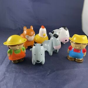 """4"""" 90s Large People Vintage Farm Animal Lot Of 7 Figures Cow Chicken Donkey Goat"""