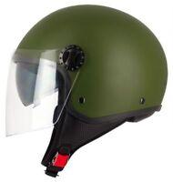 Casque Moto / Scooter Demi-Jet S-line S706 R-FULLY Vert Armée (Double Visière)