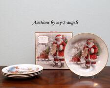 NEW Pottery Barn 2017 NOSTALGIC SANTA Dinner Plates MIXED SET/4 Christmas *More