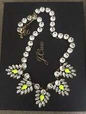 J CREW - Neon Lime Yellow & Crystal Statement Necklace NWOT *New without Tags*