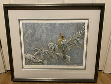 """Robert Bateman """"WINTER LADY-CARDINAL"""" Limited Edition Signed And Numbered Rare"""