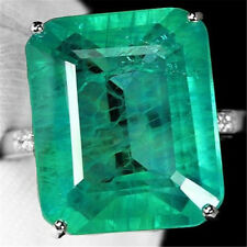Women 925 Silver Filled Square Emerald Gem Band Rings Men Wedding/Engagement#7