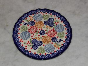 Polish Pottery Trivet! UNIKAT Signature Paper Lanterns Pattern!