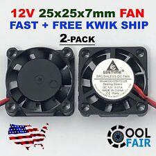 2 pcs 25mm 12V Cooling Fan 2507 25x25x7mm DC Mini Cooler Fan 2-Pin