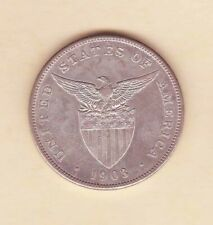 US Philippines 1903-S One Peso Silver Crown , 1 peso Light Toned condition AU