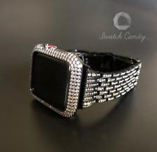 Apple Watch Band 42mm S2/3 Black Rhinestone & Case Cover SS Bezel Lab Diamonds