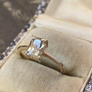 9ct gold Emerald cut citrine ring with full UK hallmarks for Birmingham UK L 1/2