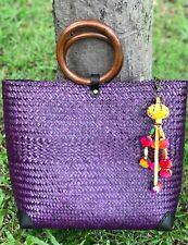 Women Straw woven Handmade Beach Bag Large Purple Handbag Casual Summer Tote