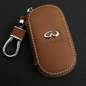 Cowhide leather Car Key Holder Keychain Ring Case Bag Fit For Infiniti Auto