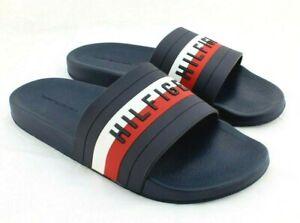 NWT HILFIGER Dark Blue Sky Size 11 Red, White & Navy Blue Slide Men's Sandals