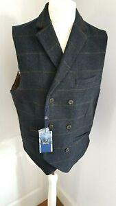 CAVANI Men's Check Navy Formal Waistcoat - Size 40