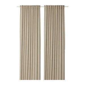 "IKEA Aina Curtains 1 Pair Beige 57x 98"" 2 Panels 100 % Linen 302.842.00 New!"