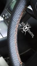 FOR RENAULT MEGANE PERFORATED LEATHER STEERING WHEEL COVER 95+ BEIGE DOUBLE STCH