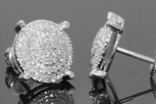 10K WHITE GOLD .40 CARAT MENS WOMENS 10 mm 100% GENUINE DIAMONDS EARRING STUDS