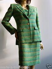 Ensemble Tailleur robe + Veste CLAIRE en lin & coton vert 100% doublées 40 NEUF