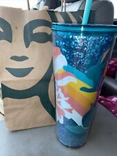 Starbucks 2021 Spring Bunny Rainbow Floral & Glitter 24 Oz Cold Tumbler *Read