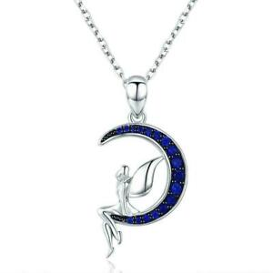 0.50 Ct Round Cut Blue Sapphire 14K White Gold Over Moon Fairy Pendant Necklace
