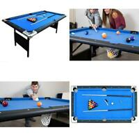 Portable Pool Billiard Table 6-Ft Blue Indoor Game Set Folding Cue Rack Storage