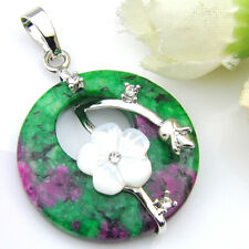 SKY Jewelry Ruby Zoisite Flower Carved Shell Gems Silver Charm Necklace Pendants