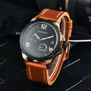 Parnis 44mm Black/Rose Gold Automatic Watch Men Leather Strap Power Reserve Date