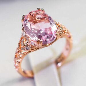 Fashion Pink Sapphire Rose Gold Filled Ring Women Wedding Bridal Jewelry Size 8