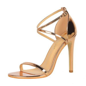 Women's Sexy Ankle Strappy Criss Cross Open Toe Stilettos High Heeled Sandals