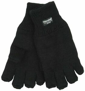 Men's Thermal Thinsulate Knitted Fleece Lined Warm Fingerless Gloves ONE SIZE