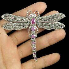 Heated Oval Red Ruby 7x5mm Marcasite 925 Sterling Silver Dragonfly Brooch