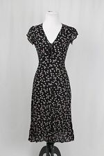 Reformation Black and Floral Print Midi Semi Sheer Dress Size 2