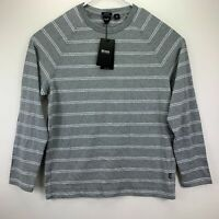 Hugo Boss Mens Terell Regular Fit Long Sleeve Striped Tee T-Shirt Gray M