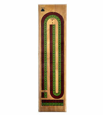 Large 2 Track Red Green Wooden Cribbage Board