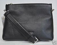 NWT! Michael Kors Jane Medium Leather Messenger / Shoulder / Crossbody Bag Black