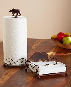 2Pc-Northwoods Evergreen Bear Paper Towel Holder Rustic Bear Napkin Holder Set