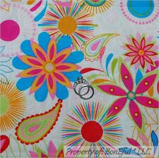BonEful Fabric FQ Cotton Rainbow Bright Color Paisley L Flower Dot Hippie Groovy