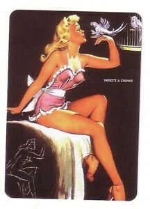 Pin Up Blonde Lady With Birds  - Modern  Wide Linen  Swap Playing Card