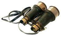 "6"" Vintage Nautical Leather & Brass Binocular~Antique Pirate Spyglass Telescope"