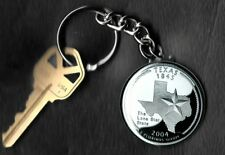 State of TEXAS Quarter Keychain Key Chain Image is 60% larger than quarter