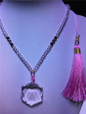 Star of David Pendant Natural Clear Quartz Crystal Hexagon + Beads Necklace