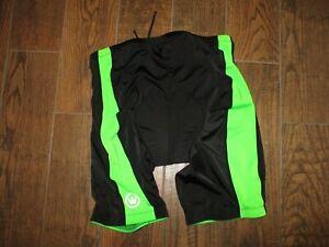 Mens Canari Black/Green Padded Compression Cycling Shorts Sz. 2XL