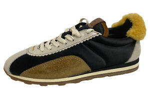 Coach women's fashion sneakers suede shearling G1313 black gold size 5B