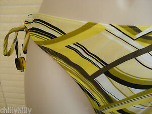 Lepel Tide Bikini Pant/Bottoms Mustard/Black Wave Side Tie UK Size 10 BNWT