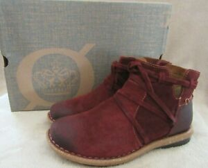 BORN Tarkiln Burgundy Distressed Suede Leather Bootie Boots Shoes US 8 EU 39 NWB