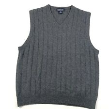 Lands End Cashmere Sweater Vest Womens M 10-12 Gray Ribbed V Neck Sleeveless