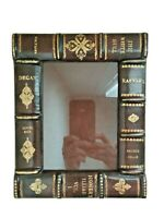 Rare Maitland-Smith Embossed & Gilded Leather Library Book Picture Photo Frame