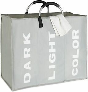 3 Compartments Folding Laundry Basket Bin Storage Hamper Laundry Separator Bag