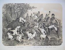 Lithographie originale, La Chasse au sanglier, Albert Adam, 1860